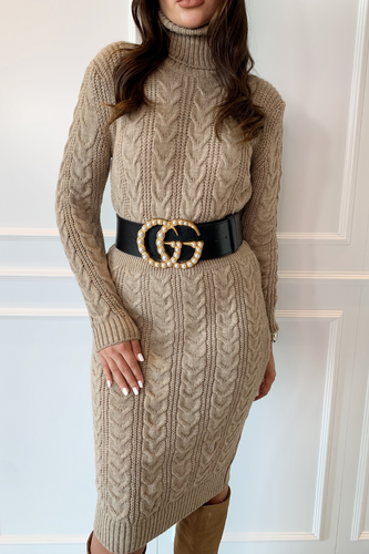 CLAUDIA Stone Braid Knit Cowl Neck Belted Midi Dress