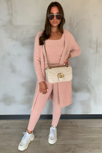ROCHELLE Nude Jogger Soft Knit 3-piece Loungewear Set