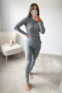 FLEUR Grey Frill Detail Buttoned Co-Ord