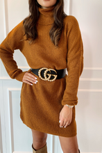 Load image into Gallery viewer, CINDY Camel Cowl Neck Jumper Dress