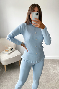 FLEUR Powder Blue Frill Detail Buttoned Co-Ord