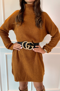 CINDY Camel Cowl Neck Jumper Dress