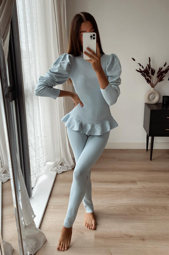 TILDA Powder Blue High Neck Ruffled Waist Loungewear Set