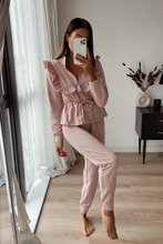 Load image into Gallery viewer, MAYA Pink Frilled Zip Up Loungewear Set
