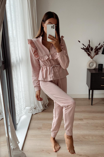 MAYA Pink Frilled Zip Up Loungewear Set