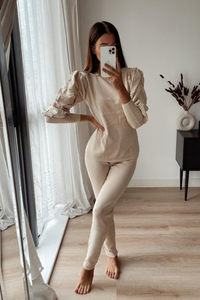 NINA Beige Puff Sleeve Lounge Set