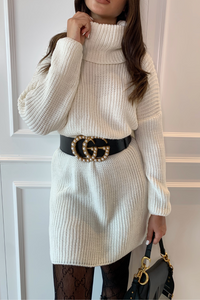 CINDY Cream Cowl Neck Jumper Dress