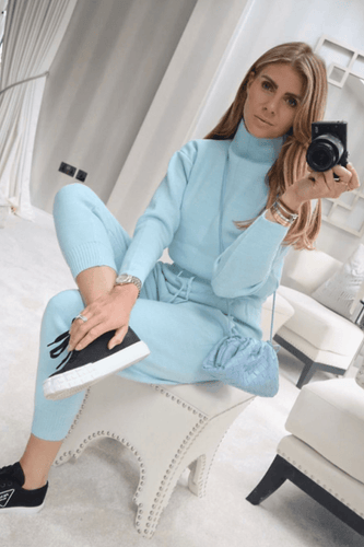 KELSEY Powder Blue High Neck Fitted Lounge Set