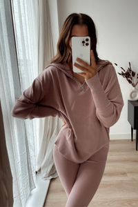 JESSIE Blush Pink High Zip Neck Loungewear Set