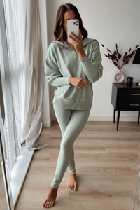 JESSIE Sage High Zip Neck Loungewear Set