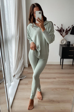 Load image into Gallery viewer, JESSIE Sage High Zip Neck Loungewear Set
