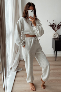 MARIANNA Grey Ruched Balloon Sleeves Loungewear Set