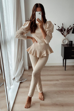 Load image into Gallery viewer, TILDA Sand High Neck Ruffled Waist Loungewear Set
