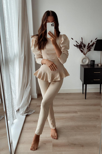 TILDA Sand High Neck Ruffled Waist Loungewear Set