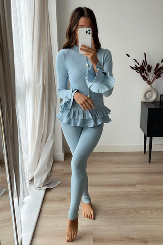 BEAU Powder Blue Frill Detail Buttoned Loungewear Set