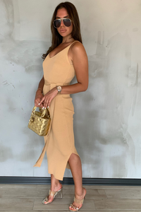 KYLIE Camel Knitted V Neck Belted Midi Dress