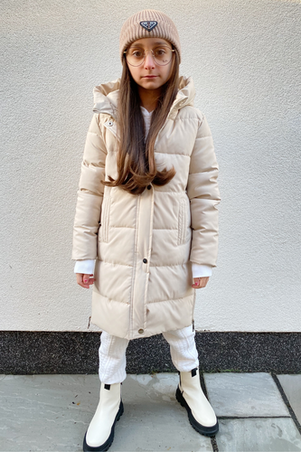Mini WILLOW Beige Zip Side Hooded Duvet Coat