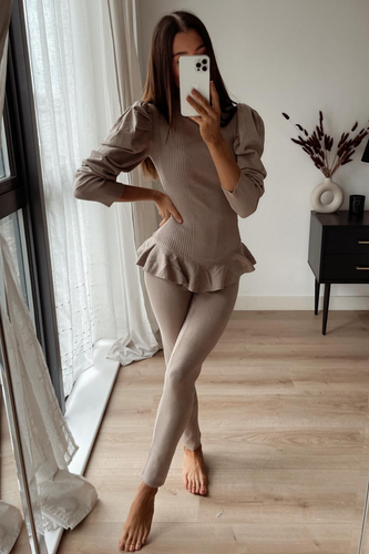 TILDA Camel High Neck Ruffled Waist Loungewear Set
