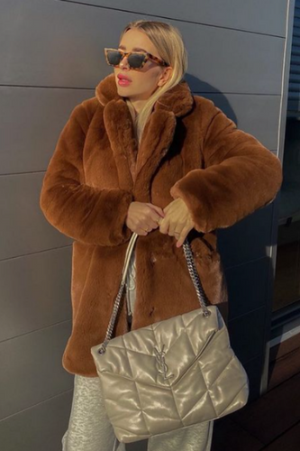 ELLE Chocolate Faux Fur Coat