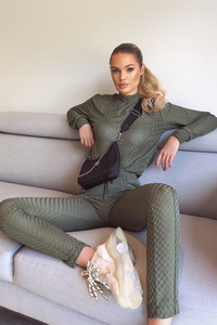 POLLY Khaki Checked High Neck Fitted Loungewear Set