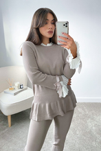 Load image into Gallery viewer, HATTIE Beige and White Frill Bow sleeved Loungewear Set