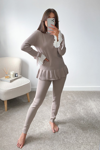 HATTIE Beige and White Frill Bow sleeved Loungewear Set