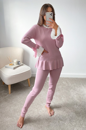 HATTIE Blush Pink and White Frill Bow sleeved Loungewear Set