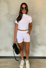 Load image into Gallery viewer, PARIS White High Neck Boxy Fit Short Co-ord