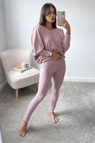 BLAIR Blush Pink Bat Sleeve V Neck Loungewear Set