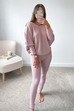 Load image into Gallery viewer, BLAIR Blush Pink Bat Sleeve V Neck Loungewear Set