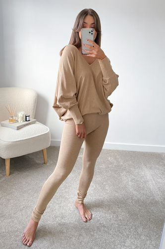 BLAIR Camel  Bat Sleeve V Neck Loungewear Set