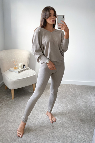 BLAIR Stone Bat Sleeve V Neck Loungewear Set
