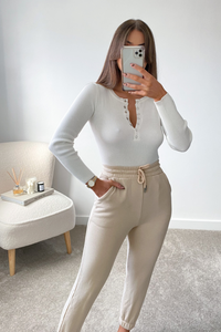 MISHA Cream Long Sleeve Ribbed Popper front Bodysuit