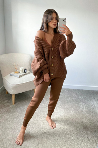 CAPRI Chocolate Brown Cable Knit Cardigan And Joggers Set