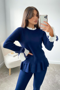 HATTIE Navy and White Frill Bow sleeved Loungewear Set