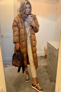NICOLE Camel Oversized Hooded Padded Coat