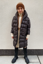 Load image into Gallery viewer, Mini NICOLE Chocolate Oversized Hooded Padded Coat