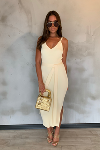 KYLIE Cream Knitted V Neck Belted Midi Dress
