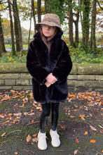 Load image into Gallery viewer, Mini BOO BOO Black Faux Fur Coat
