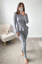 Load image into Gallery viewer, Connie Grey Peplum longsleeve belted Loungewear set