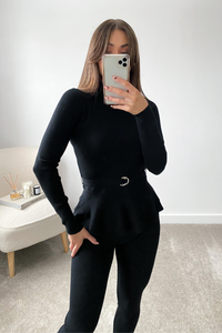 Connie Black Peplum longsleeve belted Loungewear set
