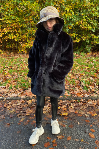 Mini BOO BOO Black Faux Fur Coat
