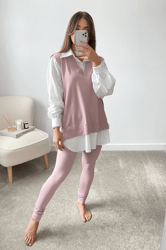 Aubrey Blush Pink V Neck Jumper Shirt Loungewear Set