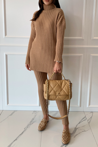 VOGUE Camel Roll Neck Ribbed Leggings Loungewear