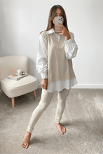 Load image into Gallery viewer, Aubrey Beige V-Neck Jumper Shirt Loungewear Set