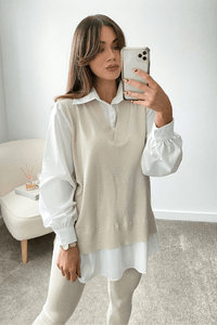 Aubrey Beige V-Neck Jumper Shirt Loungewear Set