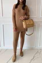 Load image into Gallery viewer, VOGUE Camel Roll Neck Ribbed Leggings Loungewear