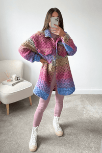 Kiara Multi Colour Knitted button up Long shacket