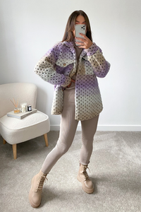 LOTTIE Violet & Cream Knitted Button Up Shacket