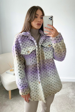 Load image into Gallery viewer, LOTTIE Violet & Cream Knitted Button Up Shacket